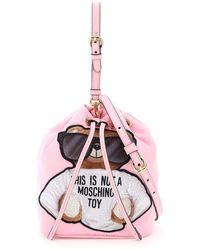 Moschino Teddy Bear Mini Bucket Bag - Pink