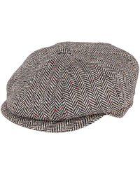Tagliatore Grey Virgin Wool Cap - Red