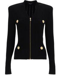 Balmain Knitted Cardigan With Zip - Black