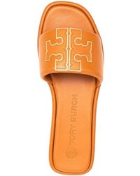 Tory Burch Leather Slide Sandals With Logo - Orange