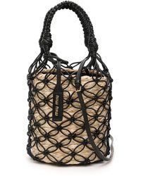 Miu Miu Net Bucket Bag With Basket - Black