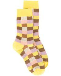 Miu Miu Check Pattern Socks - Yellow