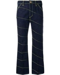 Tory Burch Diagonal Stitch Jeans - Blue