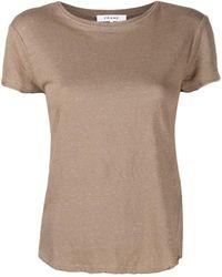 FRAME Round Neck Organic Linen T-shirt - Brown