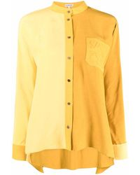 Loewe Embroidered-logo Long-sleeve Shirt - Yellow