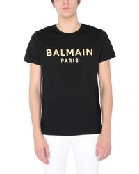 Balmain Crew Neck Cotton T-shirt With Metallic Logo Print - Black