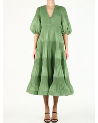 Zimmermann Pleated Long Sleeve Midi - Green