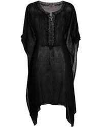 Ermanno Scervino Crochet Trim Gauze Kaftan - Black
