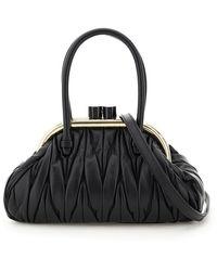 Miu Miu Belle Matelassé Top Handle Bag - Black