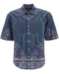 Etro Scarf Print Short-sleeved Shirt 39 Cotton - Blue