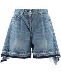 Sacai Flared Denim Shorts - Blue