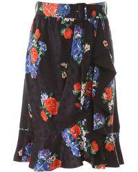 Tory Burch Floral Print Mini Skirt - Black