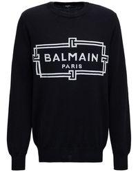 Balmain Long Sleeved T-shirt With Logo Print - Black