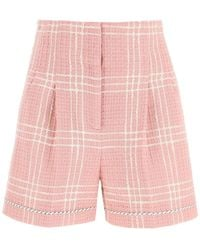 MSGM Tweed Checked Shorts - Pink