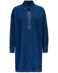 Valentino Vgold Detailed Denim Chambray Kaftan - Blue