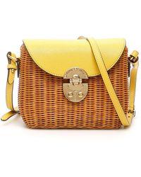 Miu Miu Structured Wicker Shoulder Bag - Yellow