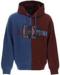 Dolce & Gabbana Dolce & Gabbana Mixed Technique Sweatshirt - Blue