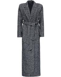 FEDERICA TOSI Long Herringbone Wool Coat With Belt - Black