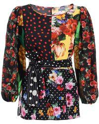 Dolce & Gabbana Dolce & Gabbana Patchwork Silk Blouse - Multicolour