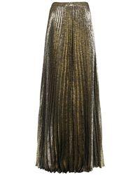Saint Laurent Gold Pleated Metallic Skirt