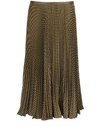 Ralph Lauren Houndstooth Pleated Skirt - Green