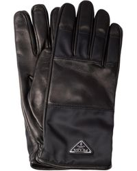 Prada Re-nylon And Leather Gloves 7 - Black