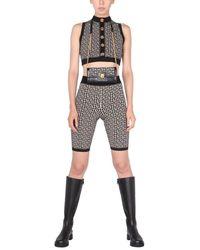 Balmain Cyclist Jacquard Knit Shorts With Monogram Logo - Black