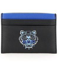 KENZO Tiger Print Card Holder - Blue