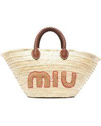 Miu Miu Woven-raffia Logo Tote Bag - Multicolor