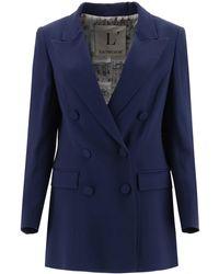 L'Autre Chose Double-breasted Buttoned Blazer - Blue