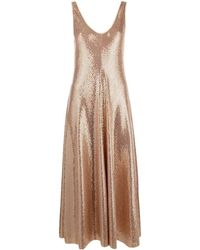 Forte Forte Long Dress In Metallic Mesh - Pink