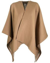 Burberry Icon Stripe Detail Wool Cape - Brown