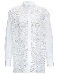 Valentino Poplin And Lace Oversize White Shirt