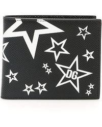 Dolce & Gabbana Small Mixed Star Bi-fold Wallet In Dauphine Calfskin - Black