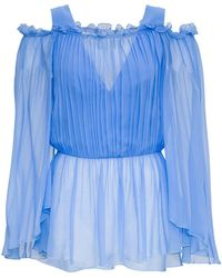 Alberta Ferretti Pleated Shirt In Viscose Blend - Blue