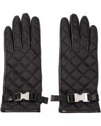Prada Nylon And Leather Gloves - Black