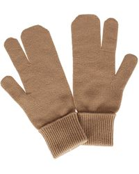 Maison Margiela Beige Wool-cashmere Blend Tabi Gloves - Natural