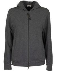 Brunello Cucinelli Stretch Cotton Lightweight French Terry Sweatshirt With Precious Detail - Grey