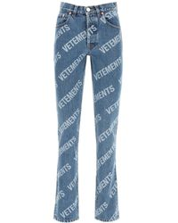 Vetements Monogram Logo Jeans - Blue