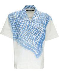 Jacquemus La Chemise Jean Cotton And Linen Shirt With Print - White