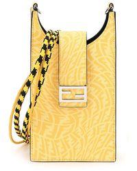 Fendi Ff Vertigo Micro Motif Phone Holder - Yellow