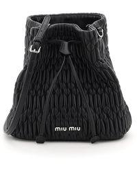 Miu Miu Miu Crystal Cloquet Leather Bucket Bag - Black
