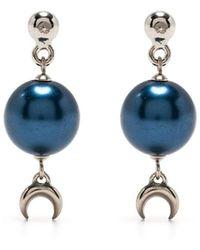 Marine Serre Moon Drop Earrings - Blue