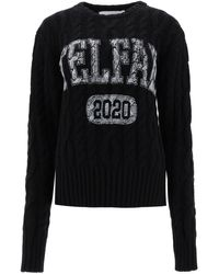 Telfar Cable-knit Jumper With Logo - Black