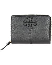 Tory Burch Perry Bombé Leather Zip Card Case - Pink