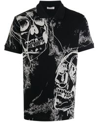 Alexander McQueen Skull Print Polo Shirt - Black