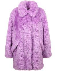 MSGM Faux Fur Coat - Purple