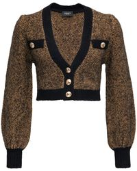 Liu Jo Cropped Wool Blend Cardigan With Jewel Buttons - Multicolour