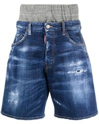 DSquared² Double Waistband Distressed Denim Shorts - Blue