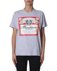 Moschino - Budweiser Printed Round Neck Cotton T-shirt - Lyst